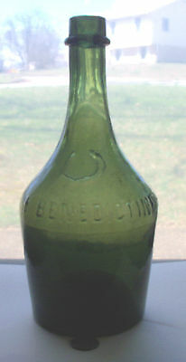 LARGE THREE MOLD GREEN WHISKEY, embossed,BENEDICTINE, PRE 1880'S