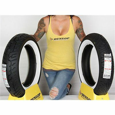 130/90 16, 150/80 16 Dunlop Cruisemax Wide White Wall Tire Kit