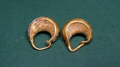 Ancient Gold Earrings  2 Hoop Crescent Shaped  Greco-Roman 200 Bc - 100 Ad