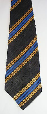 Vintage 70s Wide Tie: Gold & Blue on Black Boucle. Lovely Textural Contrast