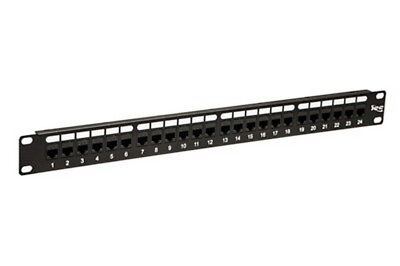 ICC 24-Port Cat6 Patch Panel, No Punch Down Feed-Thru Design  (ICMPP24CP6)