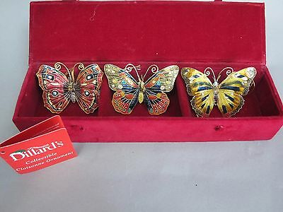 Dillards Collector's Set of 3 Cloisonne Butterfly Ornaments in Original Box