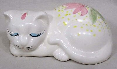 Vintage Price Imports Reclining Cat Figure Decorated with Pink Flowers Taiwan