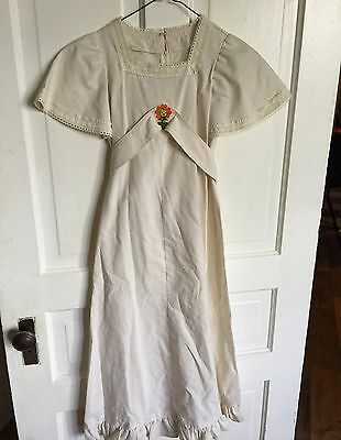 Vintage Girls 1970's Era Off White Muslin Long Dress With Lace Trim & Applique