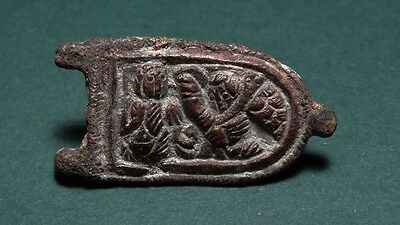 Ancient Bronze Saint Eros Buckle Byzantine 400-700 Ad