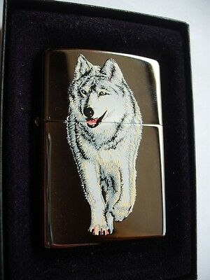 WOLF BLACK ICE ZIPPO LIGHTER SEALED NEW in GIFT BOX 2005 HUNTER HUNTING