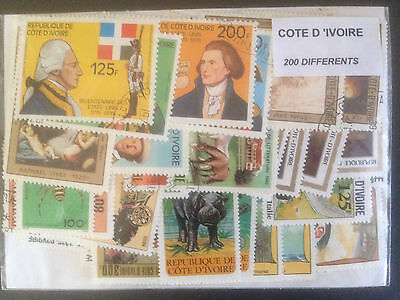 200 Different Ivory Coast Stamp Collection