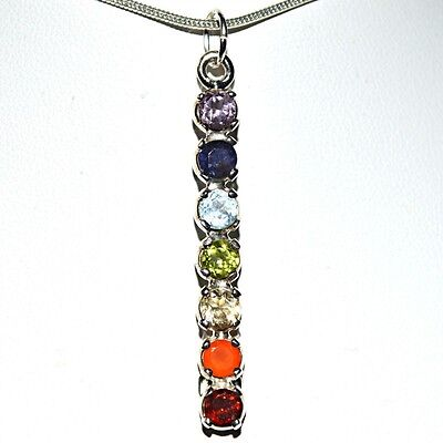Small Faceted Crystal 925 Silver 7 Chakra Wand Pendant~Reiki~Healing~Jewellery
