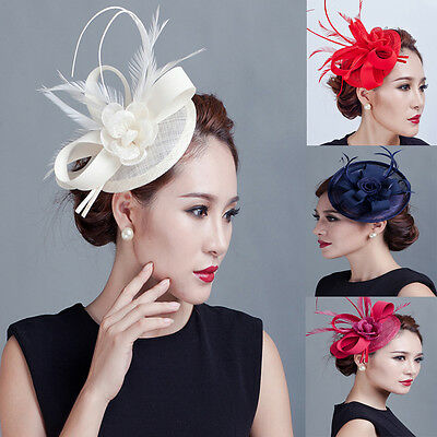 Women Derby Feather Fascinator Hat Headband Cocktail Wedding Party Headpiece