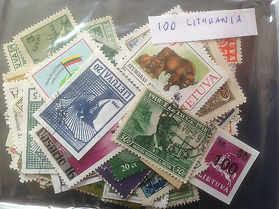 100 Different Lithuania (All Periods) Stamp Collection