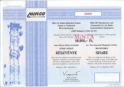 Ungarn Mik-Co Manufacturer and Commercial Co for Radia Communication Aktie 1990