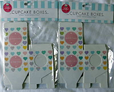 12 Single Heart Design Cupcake Boxes - New - Cup Cake