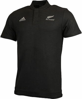 Anthem All Blacks New Zealand Adidas Polo Shirt Black Short Sleeves Men