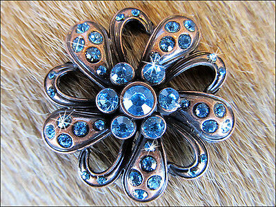 Crystal Rhinestone Bling Conchos With Floral Design Antique Copper Finish