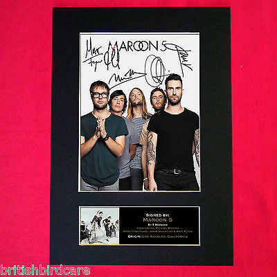MAROON 5 Mounted Signed Photo Reproduction Autograph Print A4 125