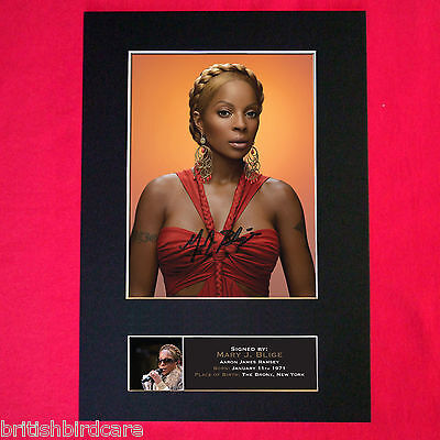 MARY J BLIGE Autograph Mounted Signed Photo RE-PRINT A4 416