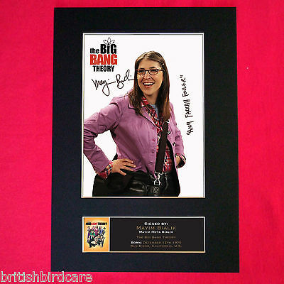 MAYIM BIALIK Big Bang Mounted Signed Photo Reproduction Autograph Print A4 358