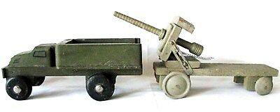 Vintage Folk Art Wood Hand Made Toy Ww2 Army Transport Truck & Howitzer Cannon