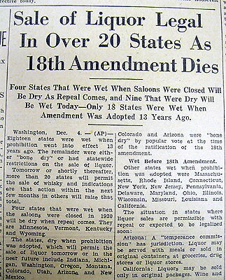 2 1933 newspapers PROHIBITION REPEALED 21st Amendment Takes Effect CONSTITUTION