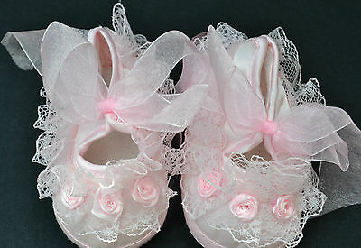 PJs AMAZING Pink Lace Satin Flower Baby Shoe  CHRISTENING OR REBORN 0-3 Mths
