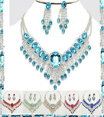 Earrings Necklace Crystal Rhinestone Evening Statement Choker Chanderlier Bridal