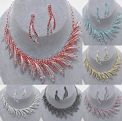 Silver Choker Evening Bridal Rhinestone Crystal Coral Chain Wedding Necklace