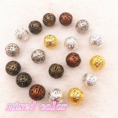 Wholesale Hot Plated Metal Hollow Flower Ball Spacer Beads 4/6/8/10/12mm 4 COLOR