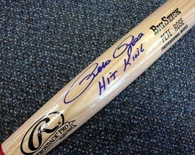 """Pete Rose Autographed Signed Blonde Rawlings Bat Reds """"hit King"""" Psa/dna"""