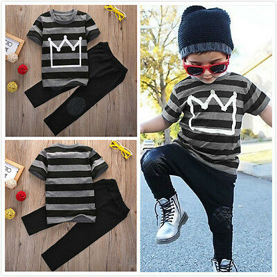 Newborn Toddler Kids Baby Boys Outfits T-shirt Tops+Long Pants 2pcs Clothes Set
