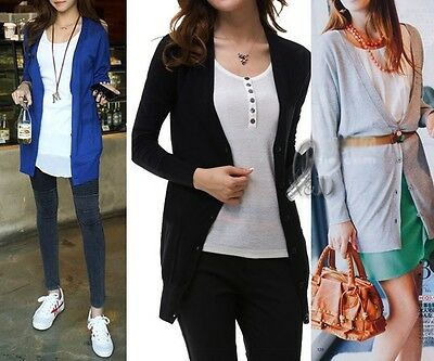 WHOLESALE BULK LOT OF 10 MIXED COLOUR Long Cardigan Basic Sweater SZ S-L T105