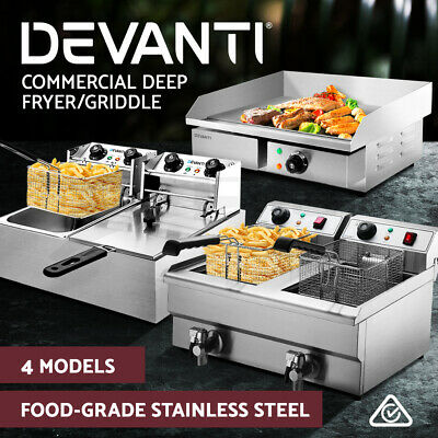 Devanti Commercial Deep Fryer Electric Griddle Single Double Grill Plate Frying