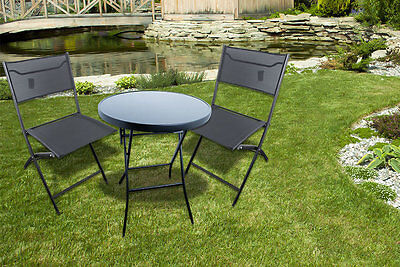 3 Piece Garden Patio Furniture Conservatory Glass Table & 2 Chairs Deck Set