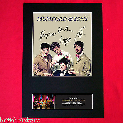 MUMFORD AND SONS Mounted Signed Photo Reproduction Autograph Print A4 357