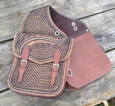 Western Horse Saddle Bag Or Motorcycle Saddle Bags Hand Tooled Brown Leather