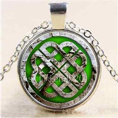 Red Shamrock And Celtic Knots Cabochon Glass Tibet Silver Pendant Necklace#CA94