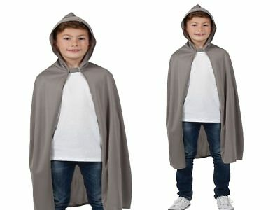Kids Grey Cape Hooded Robe Wizard Gandalf Girls Boys Fancy Dress