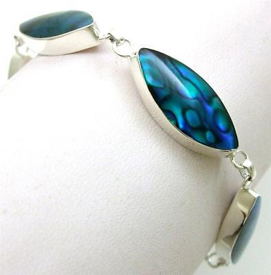 Natural Blue Paua Abalone Shell 925 Sterling Silver Bracelet Women Jewelry SE030