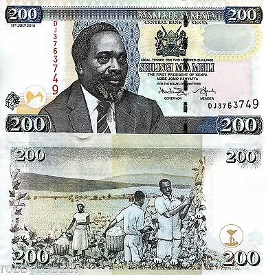 KENYA 200 Shillings Banknote World Money Currency p49e BILL Note Africa Kenyatta