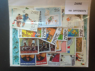 100 Different Zaire Stamp Collection