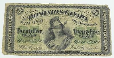 Dominion of Canada Series B Shinplaster 1870 .25 Cents Note * S
