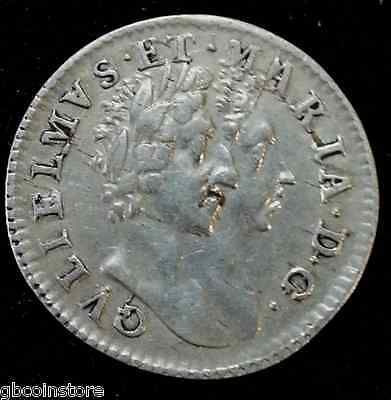 1689 William & Mary Maundy Fourpence Scarce High Grade Spink 3439