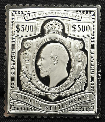 Straights Settlements 1910 - Sterling Silver Stamp - $500 Edward VII