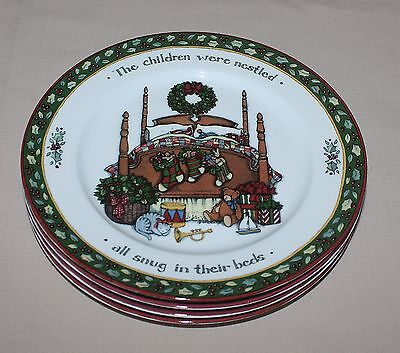 Set of 4 Christmas Story Susan Winget International China Salad Plates Free Ship