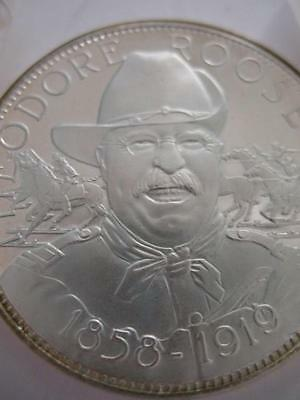 7/8-Oz  President Theodore (Teddy) Roosevelt Masonic Art Coin Silver.925 + Gold