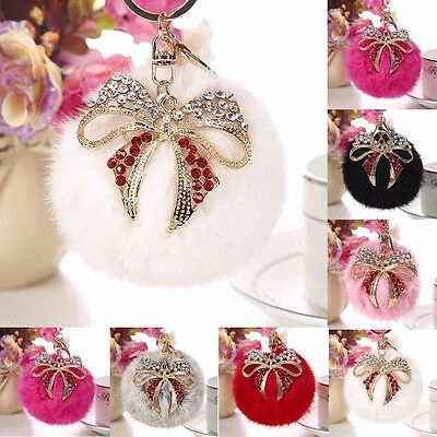 Large 9cm Fluffy Rabbit Fur Pompom HandBag Bow Pendant Pearl Keychain Keyring UK