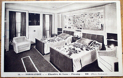 Attrayant 1930s Normandie Steamer Ship/Ocean Liner Postcard   Interior View, Chambre  Luxe