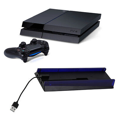 Plastic Console Stand Dock with 3 USB Hub & Blue Light Bracket for PS4 NK