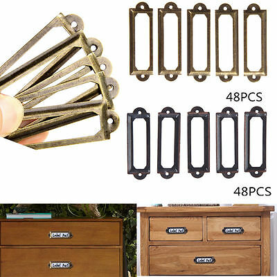 48pcs Antique Brass Drawer Label Pull Frame Handle File Tag Name Card Holder ds