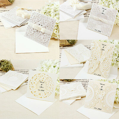 10pcs Laser Cut Personalised Wedding Day Evening Invitations Cards Envelopes