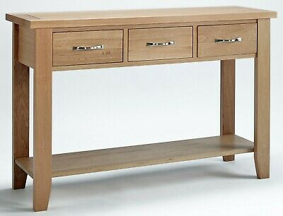 Large Oak Console Table | Solid Wood Hall/Side/End/Telephone Table with 3 Drawer